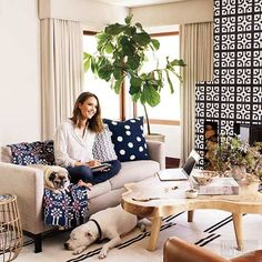 Polka dots, graphic tiles, stripes. Love the mix of patterns and textures in Jessica Alba's living room. Organic, modern, inviting, beautiful.