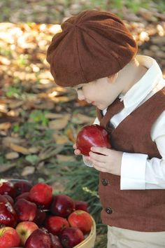 Decisions ... Decisions ... Hmmm ... Is this the prettiest apple?  Pick of the Crop!  #Apple #Autumn #Boy
