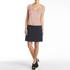MNG by Mango, orange and white striped dress with navy, slightly above knees, perhaps with skinny jeans underneath, $50, from @JCPenney