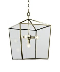 """- Camden Lantern, Soft Brass - soft brass finish with clear glass - accepts (5) 60 watt bulbs - measures 16.5"""" wide x 24"""" high - includes 6' of chain - minimum 1-2 week delivery time; please contact u"""