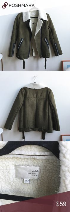 J.O.A. Asymmetrical Suede Shearling Jacket Only worn 1x. Almost new condition and no rips/flaws/stains. 100% Polyester. J.O.A Jackets & Coats