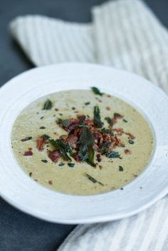 Creamy Mushroom Soup with Bacon and Fried Sage | Autoimmune Paleo