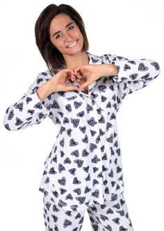 "Love + Grace ""Hearts"" Women's Pajama Set in Navy and White $98 - SHOP http://www.thepajamacompany.com/store/18839.html?category_id=10960"