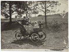 Perier family in de Dion voiturette, c.1903    First car imported into New South Wales