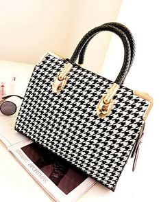 Stylish Houndstooth and Metallic Design Women's Tote Bag, BLACK in Tote Bags | DressLily.com