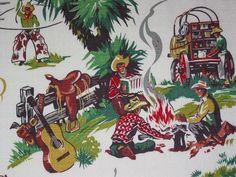 Vintage 1950's cowboy barkcloth