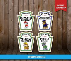 Sale  80% OFF  PAW PATROL Condiment Labels Digital by CLPrintable