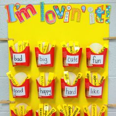 More descriptive words interactive word wall. For Kindergarten - I could see my class matching the sight words! Classroom Fun, Classroom Activities, Classroom Organization, Future Classroom, Primary Classroom Displays, Synonym Activities, Handwriting Activities, Seasonal Classrooms, School Displays