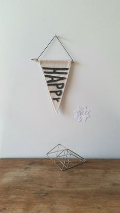 Handmade Canvas Wall Pennant Banner HAPPY Shipping Included by aspenandoak Made In America