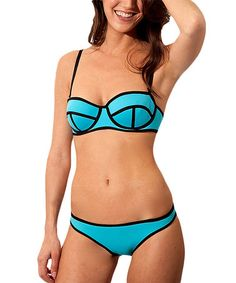 Look at this #zulilyfind! Aqua Geometric-Seam Neoprene Underwire Bikini #zulilyfinds