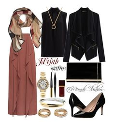 """#Hijab_outfits #modesty #Formal"" by mennah-ibrahim on Polyvore featuring BCBGeneration, Accessorize, Joseph, Burberry, WithChic, Cartier, Tom Ford and Yves Saint Laurent"