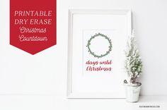 Print off this Christmas printable and put it in a frame. Use a dry erase marker to count down the days until Christmas. What a fun way to countdown until Christmas! Countdown Until Christmas, Days Until Christmas, Christmas Stencils, Free Christmas Printables, Dry Erase Markers, Free Prints, Xmas, Christmas Ideas, Presents