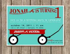It's official.. RED WAGON 1st Birthday Party it is!!!!  Radio Flyer Red Wagon Invitation  perfect by pinkcreativeinvites, $5.00