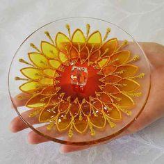 Incensário Em Vidro Redondo Mandala Margarida Amarela Laranja