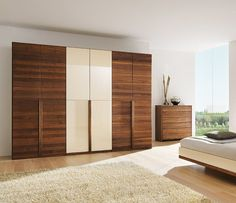 Luxury modern solid wood and glass wardrobe