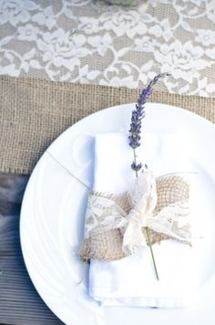 lavender, lace, and burlap