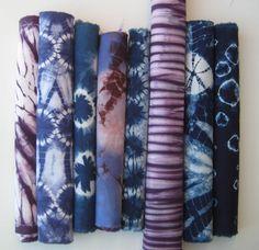 Púrpura & índigo azul tela Shibori