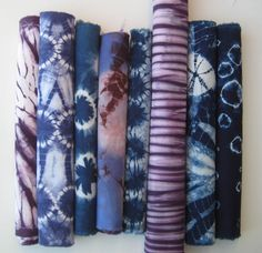 Purple  Indigo Blue Shibori Fabric Pieces by CapeCodShibori