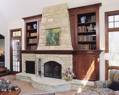 Traditional Family Room Rock Fireplace Built In Cabinets Design, Pictures, Remodel, Decor and Ideas