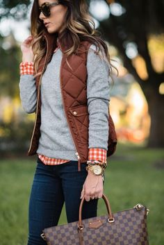 preppy fall outfit, love the louis vuitton pocketbook and layered sweater and checkered shirt details of this fall/winter look.