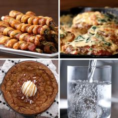 3 course chicken dinner: bacon wrapped asparagus, creamy Tuscan chicken and Chocolate Chip skillet cookie New Recipes, Cooking Recipes, Favorite Recipes, Cooking Corn, 3 Course Meals, Cooking Courses, Tuscan Chicken, Cookies Et Biscuits, Chip Cookies