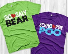 """Googaly Bear Schmoopsie Poo Mike and Celia Matching Shirts Monsters inc shirts Vacation Shirts Couples ( sold separately ) With a shirt for our kid that says """"Boo!"""