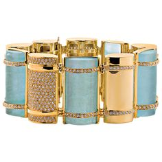 """Jewelry Gifts 2012 Jewelry Christmas Gifts for Her - Harper's BAZAAR Faraone Mennella """"The Bullet"""" bracelet yellow gold aquamarine and diamond pave bracelet - June 16 2019 at 18k Gold Jewelry, Aquamarine Jewelry, Sterling Silver Jewelry, Diamond Jewelry, Jewelry Gifts, Fine Jewelry, Jewellery, Metal Jewelry, Jewelry Box"""