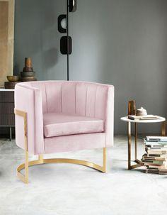 Pink Accent Chair, Velvet Accent Chair, Accent Chairs, Pink Velvet Chair, Bucket Chairs, Velvet Furniture, Furniture Chairs, Meridian Furniture, Swivel Barrel Chair