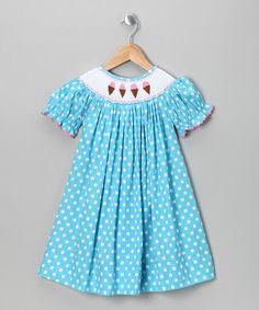 Turquoise Ice Cream Cone Bishop Dress by Nostalgic Needlework: Kids' Smocking