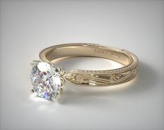 18K Yellow Gold Engraved Solitaire Engagement Ring