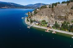 Classic view over Okanagan Lake in Vernon. Look at these lovely, private, lakeshore homes! Wish you were here!
