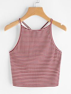 Shop Pinstripe Criss Cross Back Cami Top online. SheIn offers Pinstripe Criss Cross Back Cami Top & more to fit your fashionable needs. Cami Tops, Cute Crop Tops, Shirts & Tops, Women's Tops, Casual Skirt Outfits, Trendy Outfits, Summer Outfits, Latest Fashion For Women, Teen Fashion