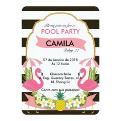Convite de festas tropical do flamingo (5x7)