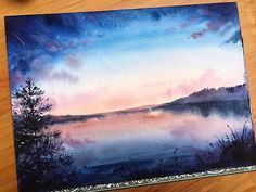It will be a postcard for a charity project🌠 <<wow Watercolor Projects, Watercolor Landscape, Landscape Paintings, Watercolor Art, Summer Painting, Guache, Pastel Art, Aesthetic Art, Love Art