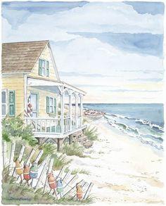 """""""Beach House & Buoys"""" by Donna Elias Beach Watercolor, Watercolor Landscape, Watercolor Paintings, Watercolors, Cottage Art, Beach Cottage Style, Cottages By The Sea, Beach Cottages, Tiny Cottages"""