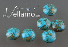 Round coin shaped mosaic stone turquoise by byvellamosupplies, $4.00