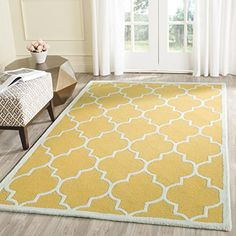 Cambridge Collection CAM134Q Handmade Moroccan Geometric Gold and Ivory Premium Wool Area Rug (3' x 5') - Bright rug to cheer up the home. #yellow #rugs #homedecor #funkthishouse