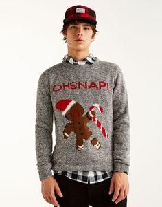 03a7c874de7b Weihnachtspullover mit Ingwermännchen - Strick - Kleidung - Herren -  PULL BEAR Deutschland