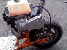 Here is my Home made petrol scooter, made from a mini moto engine & a push along scooter, Rather quick with full disk brakes! 49cc Scooter, Scooter Bike, Bicycle, Vintage Go Karts, Vespa 50 Special, Mini Moto, Crossbow, Motor Sport, Engineering
