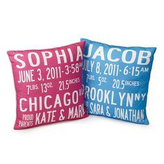 Birth Announcement Pillows, $100, by Lori Blum