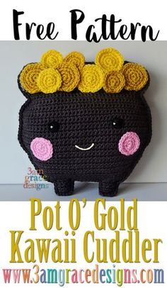 Free St Patrick's Day crochet pattern Pot O' Gold Kawaii Cuddler amigurumi ragdoll rag doll