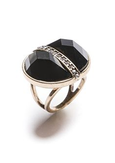Faceted Black Cocktail Ring with Pearl Divider