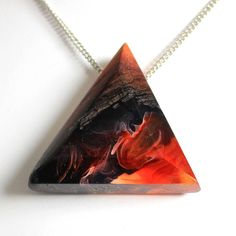 Fire jewelry. Modern wood and resin pendant by WoodAllGood. #WoodAllGood How do you like this shape? www.woodallgood.etsy.com
