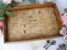 giovana / Vintage podnos ... staré noviny