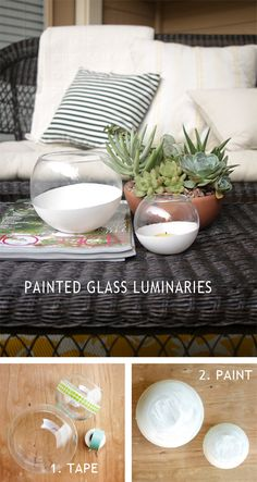 Painted Glass Luminaries | Dotcoms for Moms