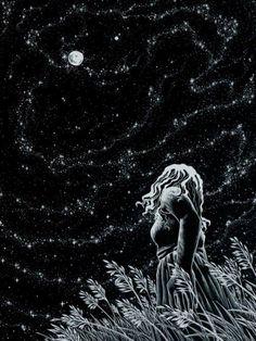 Noche estrellada mirando la luna