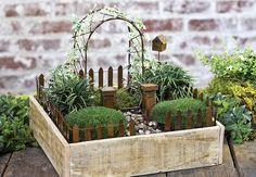Jeremie   Mini garden vine arbor, antiqued gate, columns and fencing.