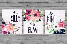 Nursery Wall Art Nursery PRINTABLE Art Baby girl Nursery Decor Pink navy floral Nursery Set of 3 prints Nursery bouquet be brave kind silly by MINTablePrintables on Etsy