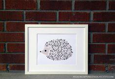 Woodland Hedgehog Illustration. Nursery by GeorgiePearlDesigns, $20.00