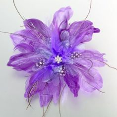 Purple Feather Hair Accent for your Bridesmaids Hair